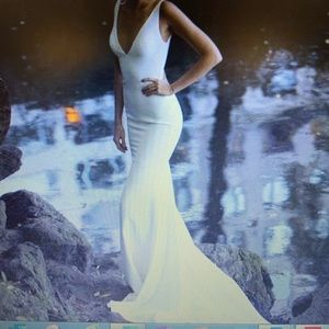 Beach Mermaid Deep V Neck Simple Elegant Prom Gown